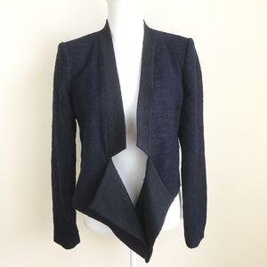 BCBG Maxazria Open Front Blazer Blue Black